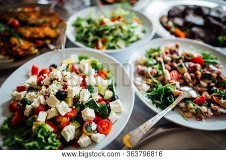 Homemade Healthy Salad Buffet.special Occasion Catering.celebration Dinner.mediterranean Seafood And