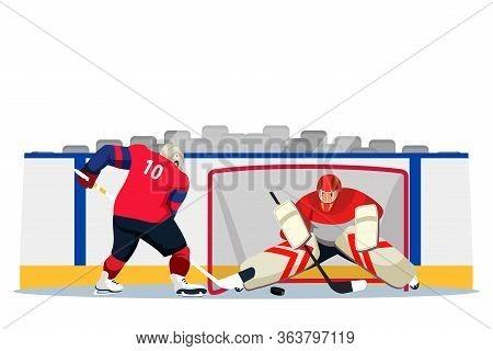 Ice Hockey Players In Uniform And Helmet On Stadium Rink Flat Cartoon. Male Goalkeeper And Striker.