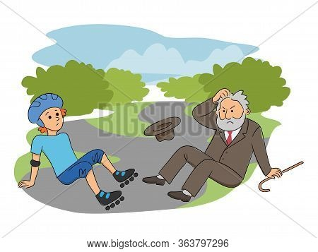 Teenager Boy Character On Roller Skates Collides With Elderly Man In Park. Inattentive Roller-skater