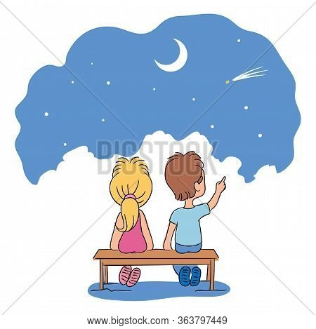 Cute Boy And Girl Friends Sitting On Park Bench Looking At Starry Night Sky. Happy Children Cartoon
