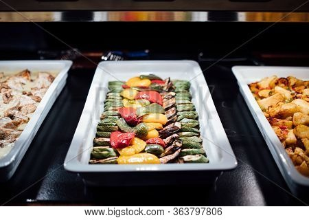 Variety Of Grilled Vegetables Served On A Special Occasion Celebration Buffet Dinner.vegan Side Dish