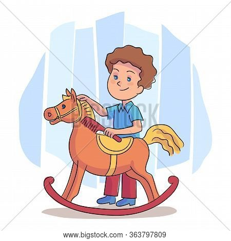 Little Boy Play Combing Toy Rocking Horse Mane. Preschooler Child And Entertainment Leisure. Cheerfu