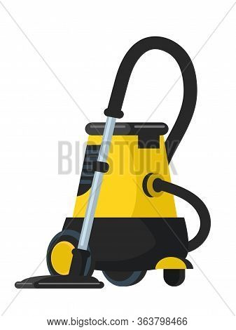 Vacuum Cleaner Flat Vector Illustration. Modern Red Hoover, Household And Housekeeping Equipment Iso