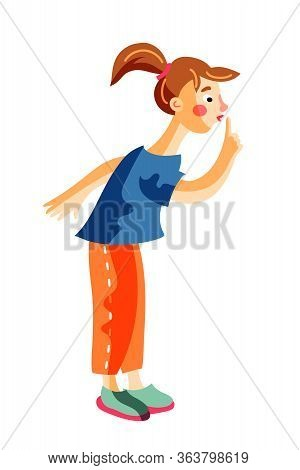 Cute Little Girl Gesturing Silence Sign Standing Isolated On White. Funny Child Cartoon Preschooler