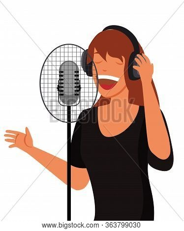 Young Woman In Headphones Singing Song In Microphone. Female Cartoon Character Recording Song In Aud