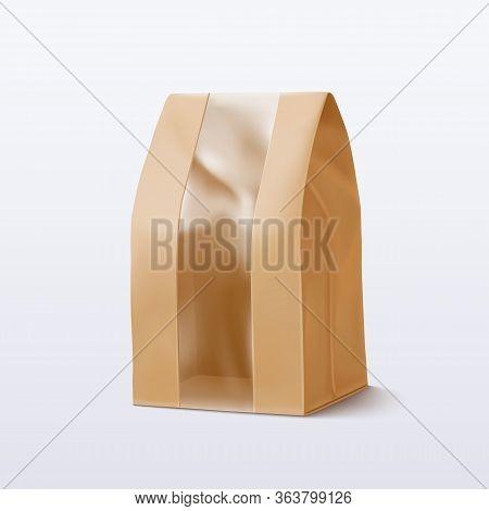 Paper Bag With Transparent Window. Vector Illustration Eps 10