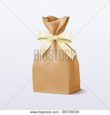 Paper Bag With A Bow. Vector Illustration Eps 10
