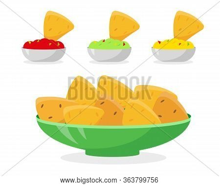 Mexican Food Vector Illustration. Nachos In Plate And Different Sauces For It. Tomato Salsa, Guacamo