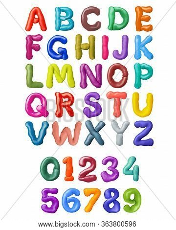 Curved Letters Of Latin Alphabet Made Of Colored Plasticine, Isolated On White Background. 3d Illust