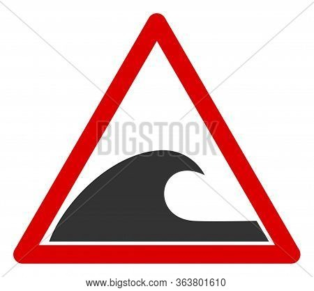 Vector Tsunami Warning Flat Icon. Vector Pictogram Style Is A Flat Symbol Tsunami Warning Icon On A