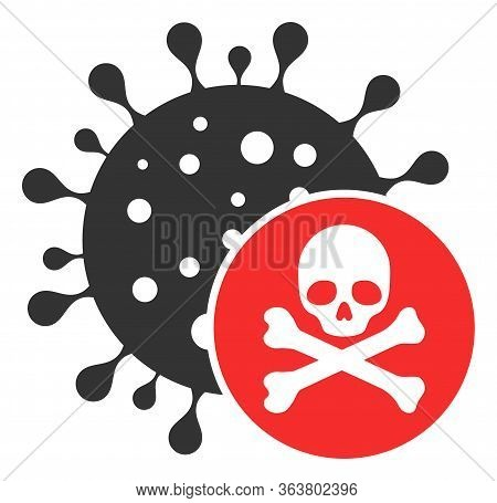 Vector Kill Virus Flat Icon. Vector Pictogram Style Is A Flat Symbol Kill Virus Icon On A White Back