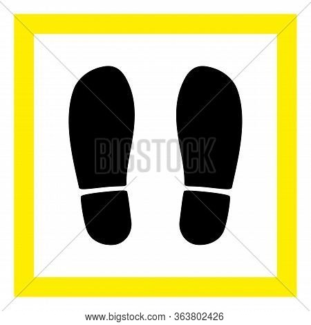 Vector Stand Here Flat Icon. Vector Pictograph Style Is A Flat Symbol Stand Here Icon On A White Bac
