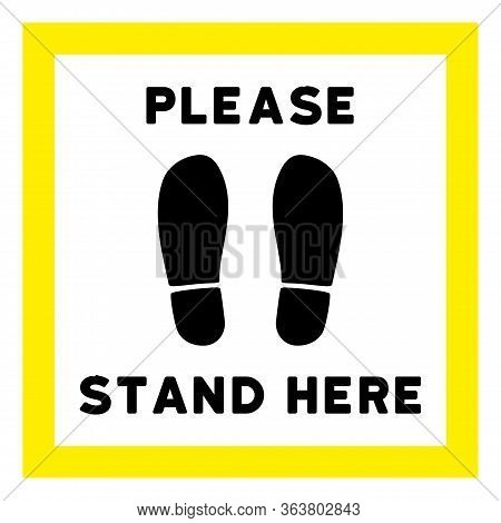 Vector Please Stand Here Flat Icon. Vector Pictogram Style Is A Flat Symbol Please Stand Here Icon O