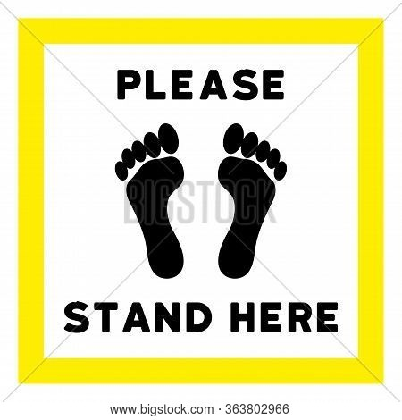 Vector Please Stand Here Flat Icon. Vector Pictograph Style Is A Flat Symbol Please Stand Here Icon