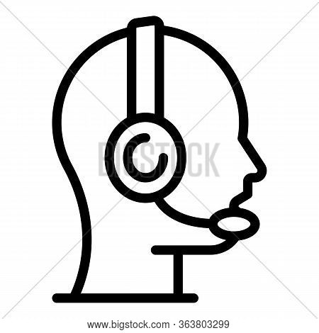 Company Headset Call Center Icon. Outline Company Headset Call Center Vector Icon For Web Design Iso