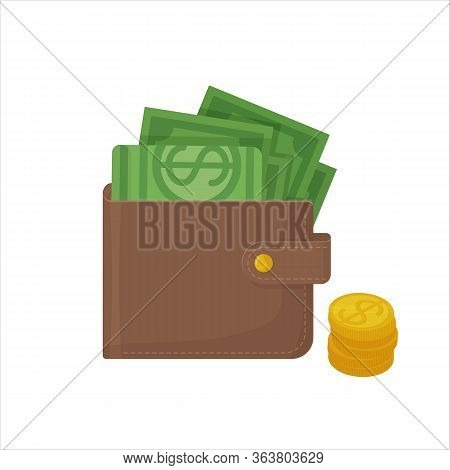 Wallet With Money, Dollars And Coins. Cirrensy, Cash, Shopping, Finance, Money, Wealth Concept. Stoc