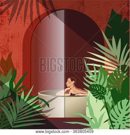 Woman Lifestyle Bathroom Luxury Vegetation Tropics