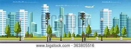 City Panorama With Crosswalk, Traffic Light, Skyscraper House Buildings, Airplane Flying In Sky. Str
