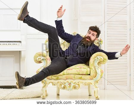 Playful Mood Concept. Macho Attractive And Elegant On Cheerful Face And Happy Expression. Man With B