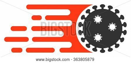 Raster Rush Virus Flat Icon. Raster Pictograph Style Is A Flat Symbol Rush Virus Icon On A White Bac