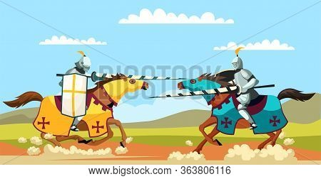 Two Armed Knights Galloping On Horseback. Knighthood Medieval Tournament. Cartoon Ancient Warriors W