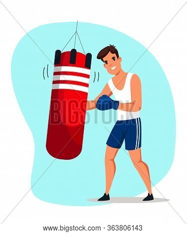 Boxer Training In Gym Flat Vector Illustration. Professional Fighter, Sportsman Cartoon Character. Y