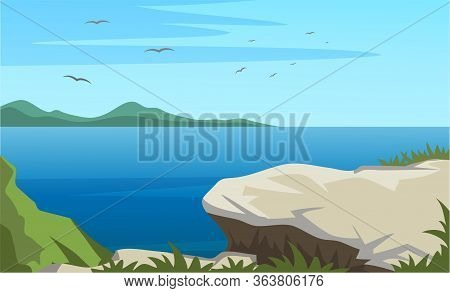 Scenic View From Stone Cliff Top On Water Surface. Cartoon Birds Or Seagull Flying In Sky Above Larg