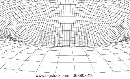 Wireframe Vector Tunnel. 3d Wormhole Light Illustration.