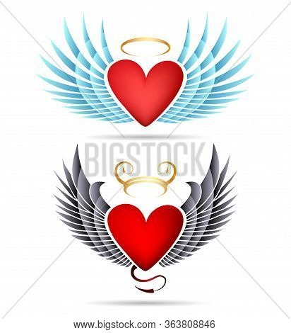 Set Of Angel And Demon Hearts With Wings. Vector Illustration.