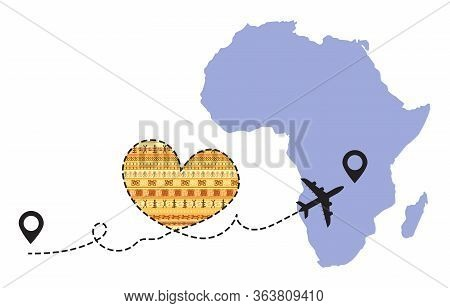 Travel To Africa By Airplane Concept. I Love Africa Vector Illustration