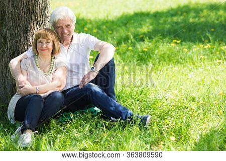 Attractive married senior couple enjoying togetherness sitting under the tree at spring meadow