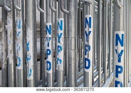 New York, New York, United States Of American, 07/19/19 New York City Police Metal Blocks Ready Stac