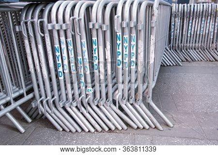 New York, New York, United States Of American, 04/11/20 New York City Police Metal Blocks Ready Stac