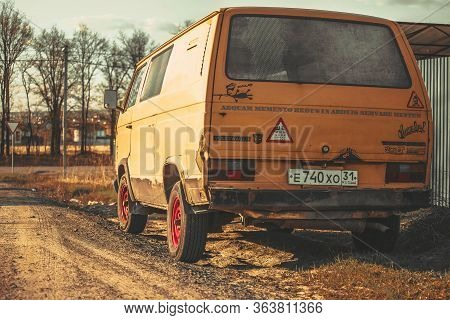 Russia Moscow April 27, 2020. Old Rusty Volkswagen Trasporter Rear View.