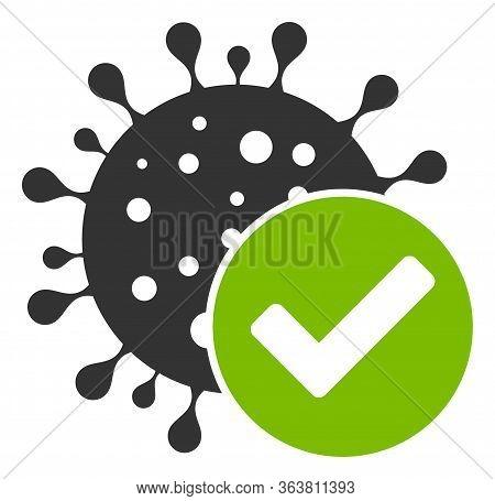 Raster Coronavirus Confirmed Flat Icon. Raster Pictogram Style Is A Flat Symbol Coronavirus Confirme
