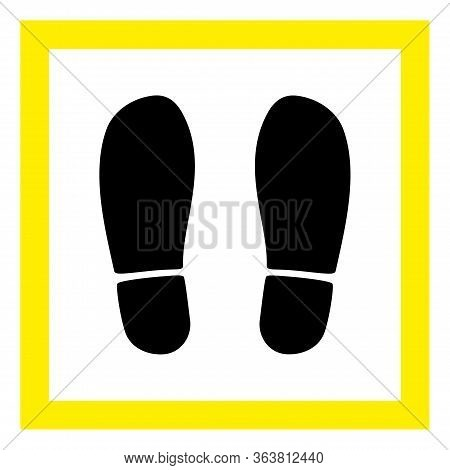 Raster Stand Here Flat Icon. Raster Pictogram Style Is A Flat Symbol Stand Here Icon On A White Back