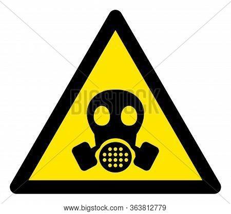 Raster Gas Mask Warning Flat Icon. Raster Pictogram Style Is A Flat Symbol Gas Mask Warning Icon On