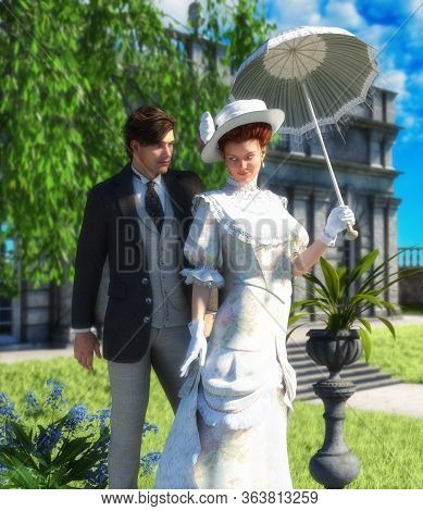 Tender Lovers Out For A Walk, Young Couple, Man And Woman In Edwardian Victorian Stylish Costumes, I