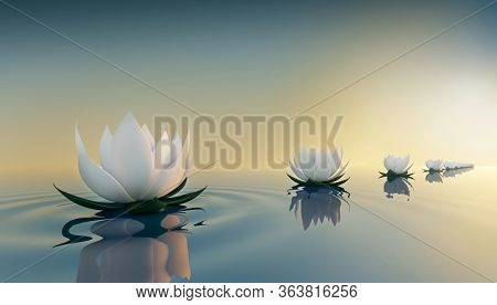 3d render image of le ots flower on calm ripple water