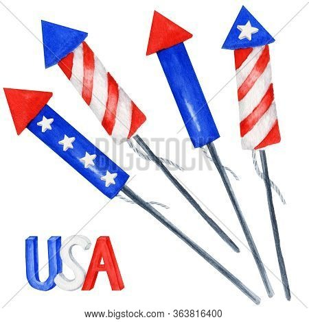 Patriotic Fireworks Set. 4th Of July America Celebration Party Watercolor Independence Day Of The Us