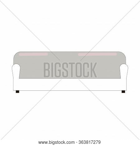 Modern Model Of Sofa, Couch Or Settee Isolated On White Background. Vector Flat Style Cartoon Illust