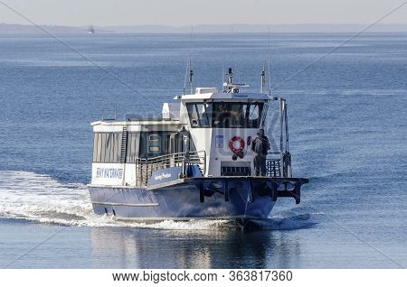 Fairhaven, Massachusetts, Usa - April 29, 2020: Enduring Freedom, A Small Ny Waterway Ferry, Coming