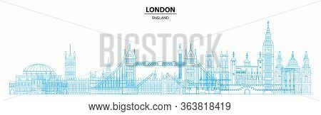 Panoramic London Travel Design With Architectural Landmarks In Line Art Style. Monochrome Flat Illus