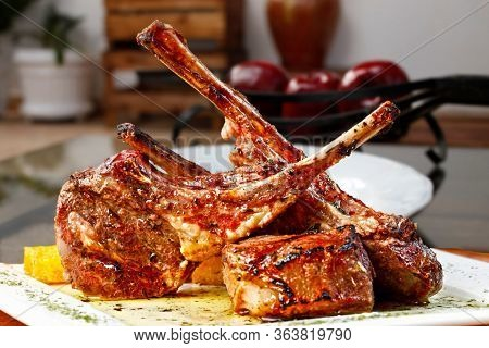 Roasted lamb chop, delicious lamb ribs roasted on the grill