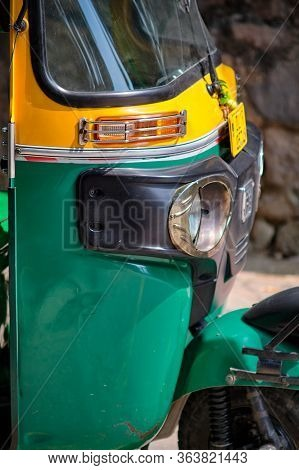 New Delhi / India - September 22, 2019: Front Of The Tuk Tuk In The Street In New Delhi, India