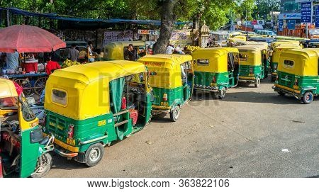 New Delhi / India - September 2019: Tuk Tuks In The Streets Of New Delhi, India