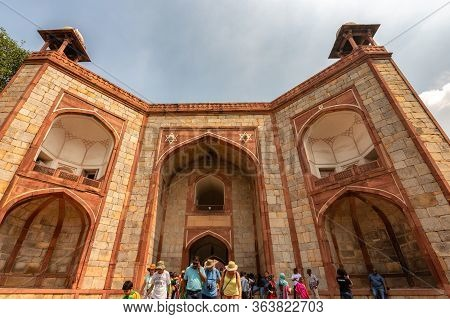 Delhi / India - September 21, 2019: The West Gate Public Entrance To The Humayun's Tomb, The Mausole
