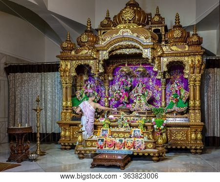 Delhi / India - October 2, 2019: Radha Parthasarathi Shrine At Iskcon Delhi Hindu Temple Of Lord Kri