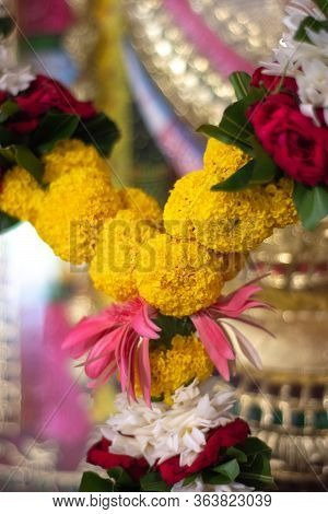 Flower Garland, Decorative Wreath Of Flowers, At Hindu Temple In New Delhi, India