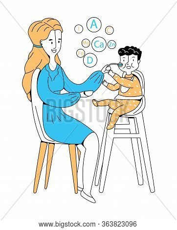 Vector Flat Illustration Woman Who Is Feeding Her Small Child With Spoon. Top Shows Microelements An